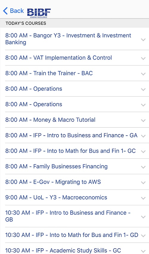 Today's Courses